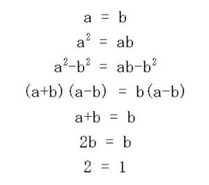 「2=1」になってしまう変な方程式